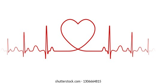 Heartbeat, vector rhythm with heart one line, a symbol of positive emotions, love and inspiration, happy Valentine day