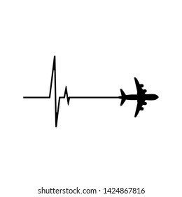 Heartbeat whith airplane. vector illustration