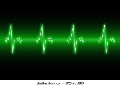 Heartbeats cardiogram. EKG heart line. Green electrocardiogram background. Vector illustration.