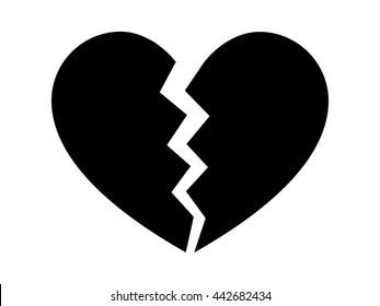 Heartbreak / broken heart or divorce flat vector icon for apps and websites