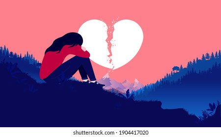 Heartbreak girl - Heartbroken woman sitting on hill feeling sad and alone with broken heart in background. Ending relationship and sorrow concept. Vector illustration.