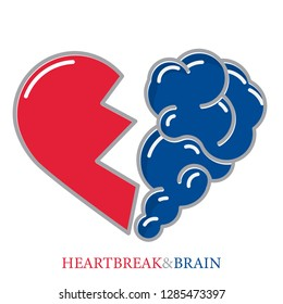 Heartbreak vector. Broken Heart and Brain flat modern icon logo vector design. Interaction between soul and intelligence, emotions, loneliness, divorce, broken relationship, rational thinking