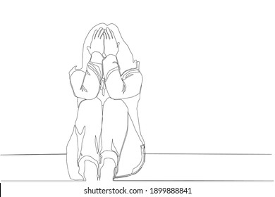 Heartbroken is a feeling in a continuous line pattern.