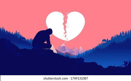 Heartbroken - Image of young male sitting outdoors with hood over head. Sky with big broken heart symbol in the background. Heartbreak, broken heart, sad, and sorrow concept. Vector illustration.