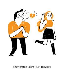 The heartbroken man followed his lover, Vector Illustration doodle style