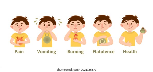 Heartburn, heaviness, belching, nausea, flatulence, bloating, pain. Infographics. Vector. Cartoon character. Isolated. Flat. Symptoms, causes.