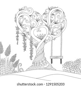 Hearted shape tree for design element and coloring book.Vector illustration