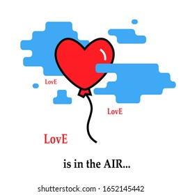 Hearth balloon flie flies by parachute icon trendy modern concept of  relationship of people  with text love is in the air  on a white background.Symbol  feelings, souls,icon love, sign emotion.Flloat