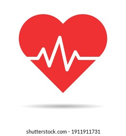 Hearth beat line icon, health medical heartbeat symbol isolated on white background, hospital logo, vector illustration .