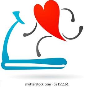 Hearth character running on a treadmill