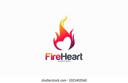 Hearth Fire logo designs concept, Fire Love logo designs template, Fire and love logo symbol