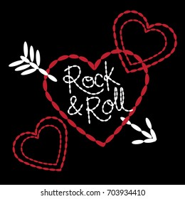 Hearts and Arrow Girls T-shirt Embroidery Text and Icon Set - Fashion Artwork - Rock & Roll - Black, Red, White