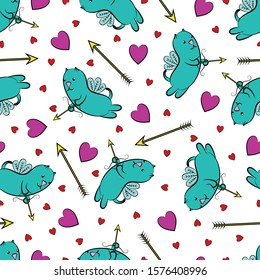 Hearts, arrows and winged cats. Valentine's day background. Pink hearts, golden arrows and winged cats with arrows and bows. Design element. Vector illustration.