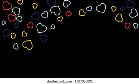 Hearts Background. Love style. Confetti texture. Romantic print.