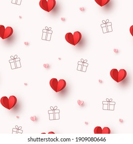 Hearts balloons and gift boxes seamless pattern. Vector red and pink paper symbols of love background for Happy Mother's or Valentine's Day greeting card design
