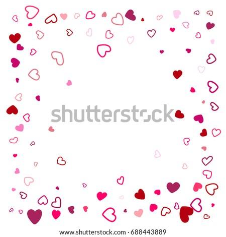 Hearts Border Wedding Background Invitation Card Stock Vector