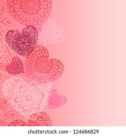 Hearts card with lace hearts