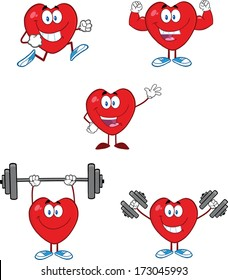Hearts Cartoon Mascot Characters. Vector Collection Set