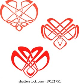 the hearts in the Celtic knot style ornament. eps8