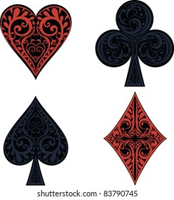 hearts, clubs, spades and dimonds icons