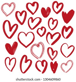 hearts collection , hand drawn vector illustration sketch isolated on white background