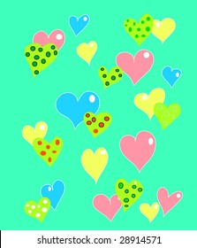 hearts in colors and polka dots