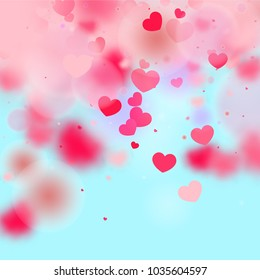 Hearts Confetti Background. St. Valentine's Day pattern.   Romantic Scattered Hearts Design Element. Love. Light, Bokhe, Magic Clouds, Moments. Design for Weddings, Anniversary, Mother's Day.