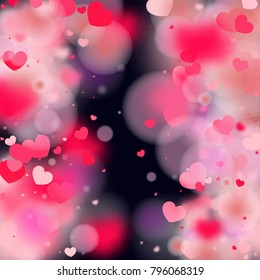 Hearts Falling Background St Valentines Day Stock Vector Royalty