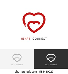 Hearts connection logo - mother love, mom and a child symbol. Family, motherhood and pregnancy vector icon.
