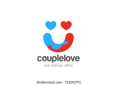 Hearts Couple Hug as Smile face abstract Logo design vector template. Valentines Day icon. Love Dating Marriage Wedding Logotype concept.