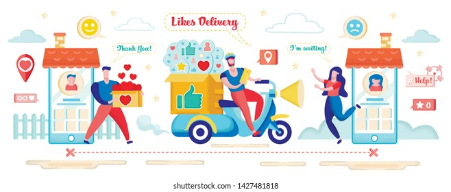 Hearts Delivery Concept. Social Media Marketing Banner Vector Illustration. People Working to Increase Popularity Giving Box with Hearts. Driver on Motocycle Delivering Icons to Woman Character.