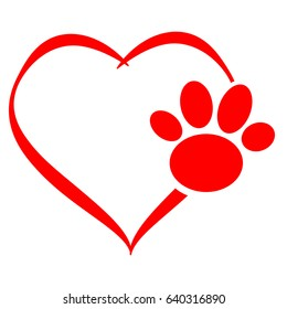 Hearts with dog paw isolated on white background. Vector illustration.