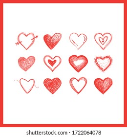 Hearts doodles collection. Symbol of love. Vector illustration.
