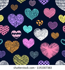 Hearts doodles pattern. Valentines day background. Romantic texture. Hand drawn effect vector. Wedding and marriage doodles. Love theme sketches. Hearts scribbles.
