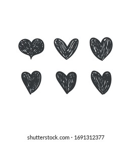 Hearts doodles. Symbol of love. Vector illustration.