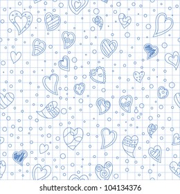 hearts, drawing on sheet of paper from exercise book