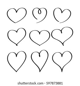 Hearts drawn by a marker. Set of hand draw hearts