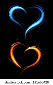the hearts drawn with red and blue fire against a dark background.