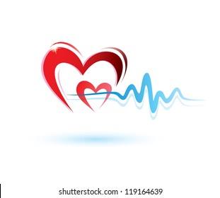 hearts with ecg icon, medicine concept