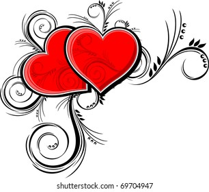 hearts with floral ornaments isolated on white background, individual objects very easy to edit in vector format