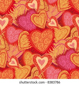 hearts folk pattern in engrave style. Select all the art and drop it into your swatches palette to create an Adobe Illustrator pattern.