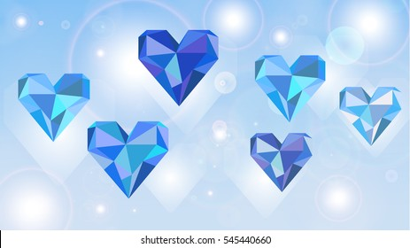 Hearts with geometric triangles and lights