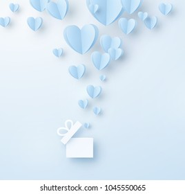 Hearts with gift box. Paper flying ballon elements on blue background. Vector symbols of love in shape of heart for Happy Father's, Mother's, Valentine's Day, birthday greeting card design.