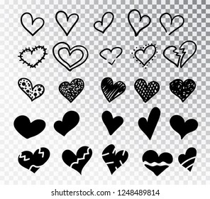 Hearts hand drawn set isolated. Design elements for Valentine s day. Collection of doodle sketch hearts hand drawn with ink. Vector illustration 10 EPS.