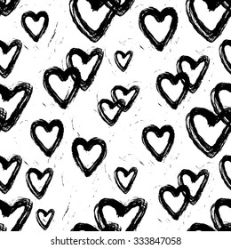 Hearts hand-painted. Seamless pattern on white.
