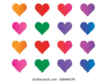 Hearts for happy Valentines day holiday design, vector illustration