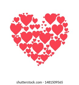Hearts heart A lot of Hearts in a heart beautiful vector Design.