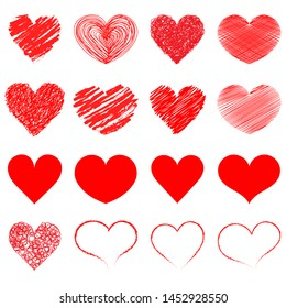 Hearts icon collection. Live broadcast of video, chat, likes. Collection of heart illustrations, love symbol icons set. Red hearts. Hand drawn.