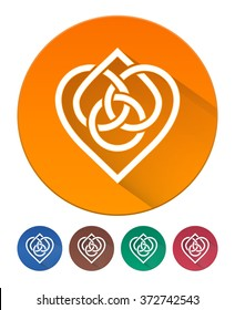 Hearts Icon Flat. Intertwined Heart in Celtic Knot. 5 Isolated Items