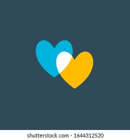 Hearts icon isolated on dark blue background. Romantic hearts icon blue and yellow. Love symbol. Happy valentines day and wedding design elements. Simple vector element illustration in a modern style.